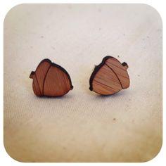 Acorn earrings studs - Eco friendly laser cut wooden earrings, woodland earrings, woodland jewellery
