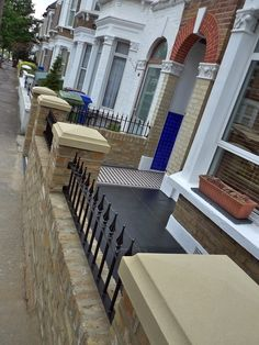 Dulwich And East Dulwich Victorian Black And White Mosaic Tile Path London Stock Brick Garden Wall Rails And Gate Victorian Front Garden, Victorian Terrace House, Brick Garden, Garden Paths, Victorian Mosaic Tile, Porch Gate, Garden Railings, White Mosaic Tiles, Wall Railing