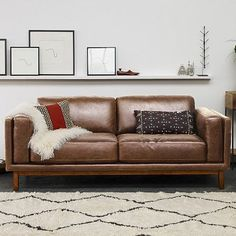 west elm offers modern furniture and home decor featuring inspiring designs and colors. Create a stylish space with home accessories from west elm. Brown Couch Living Room, Living Room Modern, My Living Room, Living Spaces, West Elm Leather Sofa, Brown Leather Furniture, Leather Couches, Leather Lounge, Sofa Design
