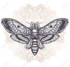 Deaths head hawk moth with mandala geometry lines Design tattoo art Isolated vector illustration Tre Stock Vector Wasp Tattoo, Hand Tattoos, New Tattoos, Body Art Tattoos, Sleeve Tattoos, Piercing Tattoo, Piercings, Skull Butterfly Tattoo, Tatoo
