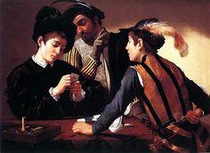 """""""Die Falschspieler"""" Caravaggio (Michelangelo Merisi) - öl  Die Falschspieler (entstanden um 1594) ist ein Gemälde des italienischen Barock Künstler Michelangelo Merisi da Caravaggio."""