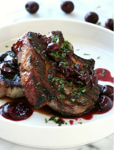 Grilled Pork Chops with Cherry Wine Sauce could be the perfect end of summer meal, lots of great vibrant flavors and perfect for grilling made easy. Smoked Pork Chops, Grilled Pork Chops, Grilled Meat, Pork Brisket, Bbq Pork Ribs, Pork Rib Recipes, Grilling Recipes, Pork Meals, Fast Meals