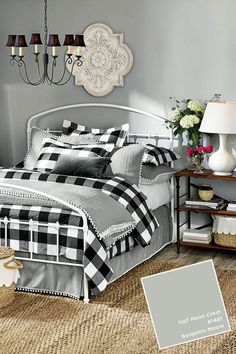 Love these colors and prints for the family room.Benjamin Moore's Half Moon Crest in Ballard Designs Winter 2017 catalog Bedroom Diy, Interior Design, Buffalo Plaid Bedroom, Home, Guest Bedrooms, Bedroom Design, Rustic Bedroom, Remodel Bedroom, Home Decor
