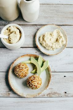 Vegan Pumpkin Brown Rice Balls with Hummus or Tamari