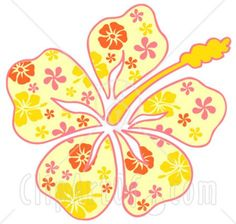 Clipart Illustration Of A Yellow Hawaiian Hibiscus Flower With A Pink Yellow And Orange Floral Pattern On The Petals clip art Hawaiian Art, Hawaiian Flowers, Hibiscus Flowers, Lilies Flowers, Cactus Flower, Flowers Garden, Exotic Flowers, Tropical Flowers, Purple Flowers