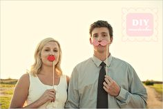 Do It Yourself Fake Mustaches and Lips for Weddings