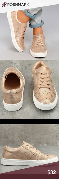 "Report Abe Rose Gold Sneakers Rose Gold Sneakers are perfect for fashionistas! Luxe rose gold vegan leather covers these classic lace-up sneakers, with perforated accents, and a 1"" white, rubber bumper sole.  Lightly cushioned insole. Felted rubber sole has nonskid markings. All vegan friendly, man made materials. Imported. Size 9. New w/o original box. Report Shoes Sneakers"