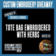 Enter to win a Custom Embroidery Tote Bag! Thank you so much for allowing readers of Tales From A Southern Mom to have a chance at this giv...