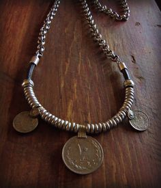 Tribal Middle Eastern Coin Pendant Necklace Dark Brown Leather Band Antique Silver