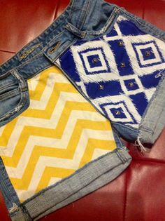 Blue and Yellow Gold School Spirit Shorts Chevron Studded  on Etsy, $55.00