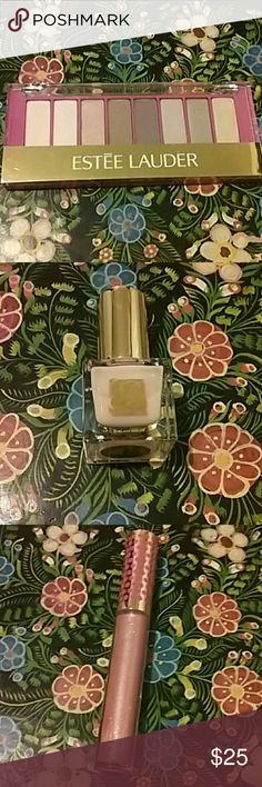 Estee Lauder eyeshadow, lip shimmer and polish 8 shades Pure color eyeshadow, pink innocence shimmer gloss, pink ballerina nail lacquer Estee Lauder Makeup