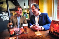 Head brewer Michael Lees-Jones and MD William Lees-Jones launch Manchester Pale Ale at Rain Bar