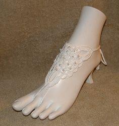 Crochet Wedding Barefoot Sandles Sandals Sandal Anklet   Bracelets Fancy Victorian Lace Lacy Footless Jewelry. $15.00, via Etsy.