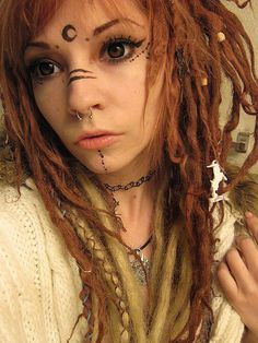 moon makeup mee dreads fairy Demon dreadlocks tribal baphomet faerie red dreads FAE