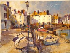 Chris Forsey Boats Drying Bayards Cove South Devon, Landscape Paintings, Landscapes, Impressionism, Boats, Dartmouth, Pictures, Oil, Pastel