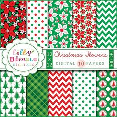 40% off Christmas digital scrapbook paper Christmas FLOWERS traditional, poinsettas, chevron, green, red, Instant Download