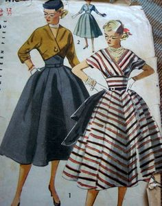 Lovely Vtg 1950s Dress Jacket Sewing Pattern