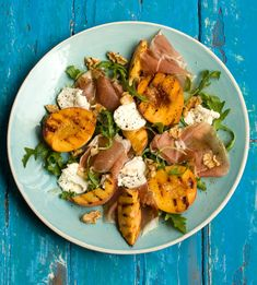 grilled peach, ham, chevin and rocket salad with rasp vinaigrette