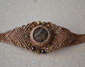 Brown Macrame Bracelet/ Brown Black Onyx Gemstone/ Tiger Eye/ Healing Stone/ Macrame Jewelry/ Micromacrame