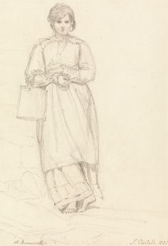 Joshua Cristall, 1768-1847, British, Young Girl Holding a Milk Can, 1831, Graphite on moderately thick, slightly textured, blued white wove paper, Yale Center for British Art, Paul Mellon Collection