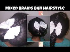 Mixed braids bun - YouTube