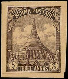 Burma, 1943 Japanese Occupation unissued Pagoda 3a. engraved plate proof in blackish purple on brown mesh paper, very fine and rare. JPS U4....
