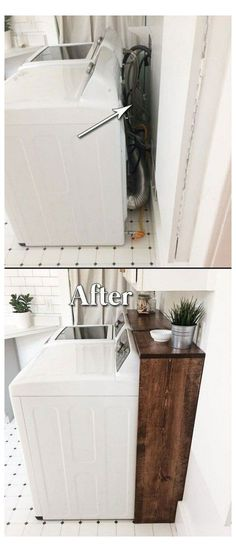 Laundry Room Remodel, Laundry Room Organization, Laundry Room Design, Laundry In Bathroom, Organizing, Laundry Decor, Small Laundry, Small Bathroom, Laundry Craft Rooms