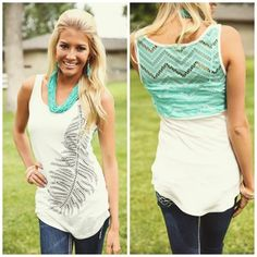 Lacey and Leafy Tank Turquoise - Modern Vintage Boutique