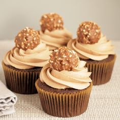 Yes, that is a Ferrero Rocher candy on the top of these Chocolate Cupcakes with Nutella Buttercream. There is nothing unappealing about chocolate, Nutella, Baking Cupcakes, Fun Cupcakes, Cupcake Recipes, Baking Recipes, Dessert Recipes, Biscuit Cupcakes, No Bake Desserts, Delicious Desserts, Delicious Chocolate