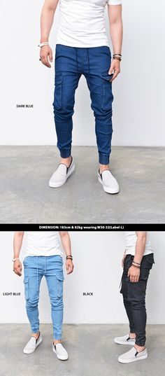 Bottoms :: Sweatpants :: Denim Slim Baggy Cargo Cuffed Jogger-Sweatpants 217 - Mens Fashion Clothing For An Attractive Guy Look