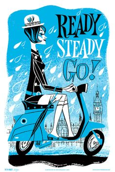 Anne Benjamin: Illustration: Mod girl on scooter riding through London in the rain. Brainstorm, Scooters, Vespa Illustration, Df Mexico, Cool Posters, Illustrations, Vintage Art, Vintage Posters, Screen Printing