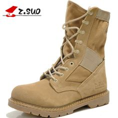ZSUO Genuine Leather Tactical Men's Combat Boots Desert Boots For Men Military Flat Suede Boots Stitching Canvas Botas Militares Suede Boots, Leather Boots, Mens Military Boots, Desert Shoes, Baskets, Martin Boots, Mid Calf Boots, Combat Boots, Mens Fashion