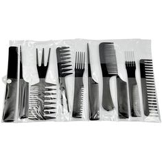 10 piece Hair Styling Comb Set Professional Black Hairdressing Brush Barbers | eBay