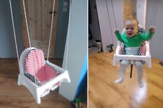 Here's how Tom Builder hacked the ANTILOP high chair into a toddler swing. Best thing is, the ropes can be reeled away and the high chair is back. Ikea Furniture Hacks, Nursery Furniture, Nursery Rugs, Pipe Furniture, Furniture Vintage, Office Furniture, Furniture Design, Cute Desk Chair, Diy Chair