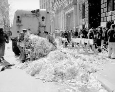 Ticker tape parade for Astronaut Lt. Col. John Glenn. Things got a bit balled-up at the end. But how else are you going to get rid of the ti...