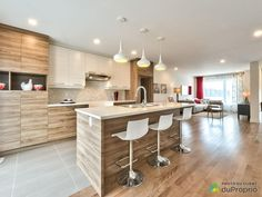 Home Decor Kitchen, Home Kitchens, Kitchen Layout, Kitchen Design, Double Storey House, Open Kitchen, Living Room Designs, Sweet Home, Kitchens