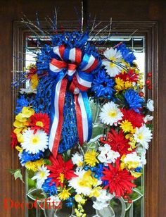 Grapevine PATRIOTIC Wreath with BEAUTIFUL FLOWERS by decoglitz