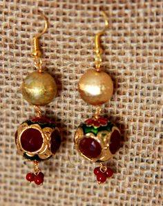 Gold and ruby danglers with Meenakari by shopAraish on Etsy