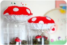 mushroom terrarium and pincushion