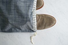 Pattern These would go well with travel bags  Drawstring Shoe Bags | Purl Soho - Create