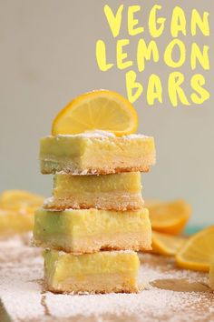 Cheap Easy Vegan Meals: Vegan Meals for Beginners - Cheap Easy Vegan Meals: Vegan Meals for Beginners These vegan Lemon Bars are made with a buttery shortbread crust and filled with an easy Meyer lemon curd for the perfect sweet and sour treat. Healthy Vegan Dessert, Coconut Dessert, Vegan Dessert Recipes, Vegan Treats, Vegan Foods, Vegan Snacks, Vegan Dishes, Vegan Recipes Easy, Sweet Recipes