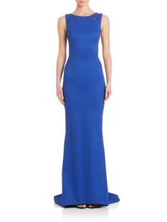 ZAC POSEN Sleeveless Bondage Jersey Gown. #zacposen #cloth #gown