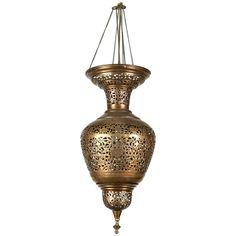 Antique Ottoman Pierced Brass Hanging Mosque Lamp Ottomans