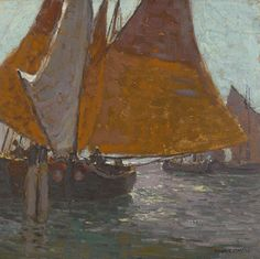 oil on canvas affixed to board 14 ½ X 14 ¾ in. Impressionist Paintings, Landscape Paintings, Landscapes, Missouri, Edgar Payne, Paintings I Love, Oil Paintings, Sailboat Painting, Sea Art
