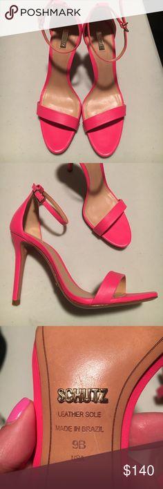 Schutz : Cadey Lee Ankle Strap Sandals : Pink Size 39. Made in Brazil. Hot Pink. Super Pink. SCHUTZ Shoes Sandals