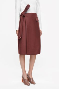 COS image 2 of Rounded wrap skirt in Red Ochre Fashion 2017, Fashion Outfits, Womens Fashion, Cos Skirts, Fashion Silhouette, Korean Fashion, Dress Skirt, Elegant, My Style