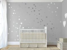120 Silver Metallic Stars Nursery Wall Decals/Wall by QuoteMyWall