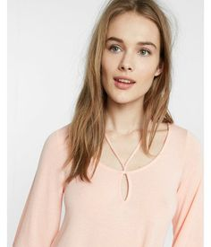 Strappy Scoop Neck Tee Pink Women's XX Small