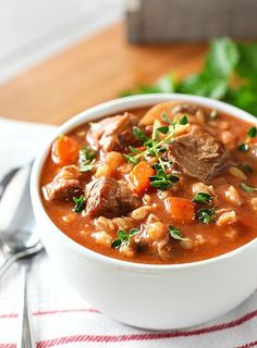 Beef Barley Soup from Laughing Spatula