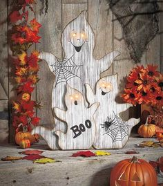 2 Ft. Tall Lighted Eyes Wooden Ghosts Halloween Scene Yard Porch Decor